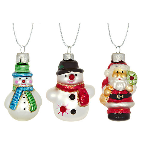John Lewis Santa and Snowman Glass Decoration Pack, x8 £8 click to visit John Lewis