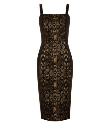 Kelly Brook Black and Gold Aztec Jacquard Midi Dress £39.99 click to visit New Look