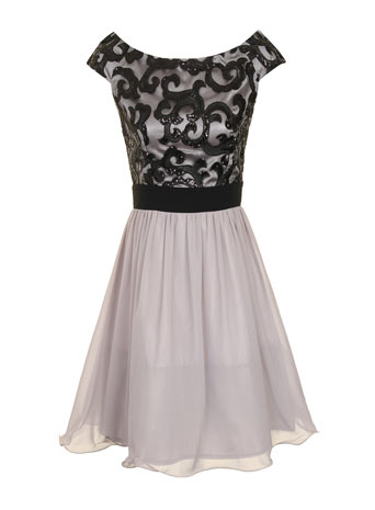 Grey + black lace prom dress     Price: £56.00 click to visit Dorothy Perkins