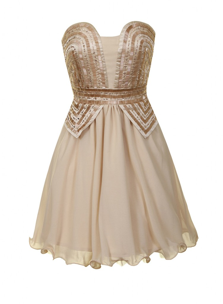 Cream and rose gold prom dress     Price: £80.00 click to visit Dorothy Perkins