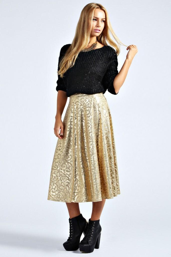 Demi Jacquard Full Midi Skirt £20 click to visit Boohoo