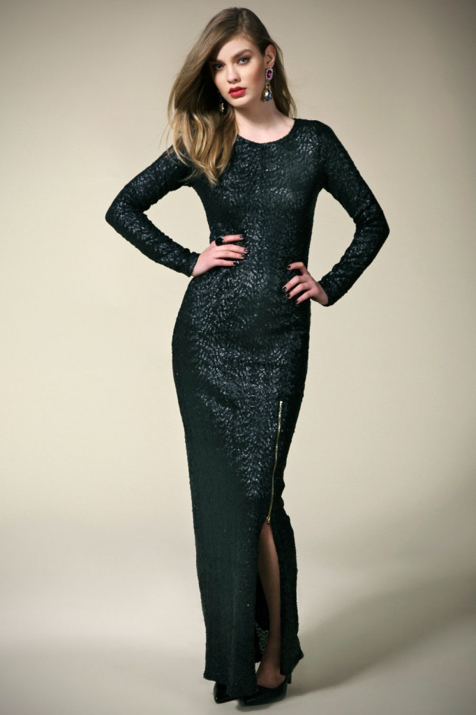 Boutique Sara Split Skirt Zip Trim Sequin Maxi Dress £50 click to visit Boohoo