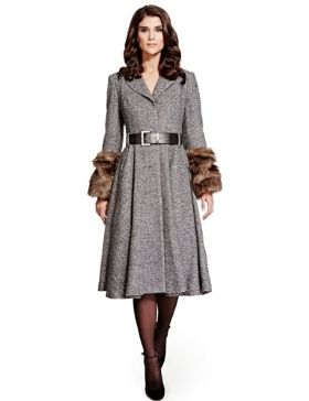 Per Una Speziale Faux Fur Cuff Belted Coat with Wool £229.00 click to visit M&S