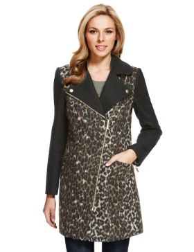 M&S Collection Animal Print Biker Coat with Wool£95 click to visit M&S