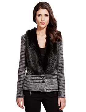 Per Una Metallic Effect Tweed Jacket with Wool £79 click to visit M&S