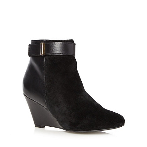 Designer black suede leather panelled mid wedge ankle boots £60 click to visit Debenhams