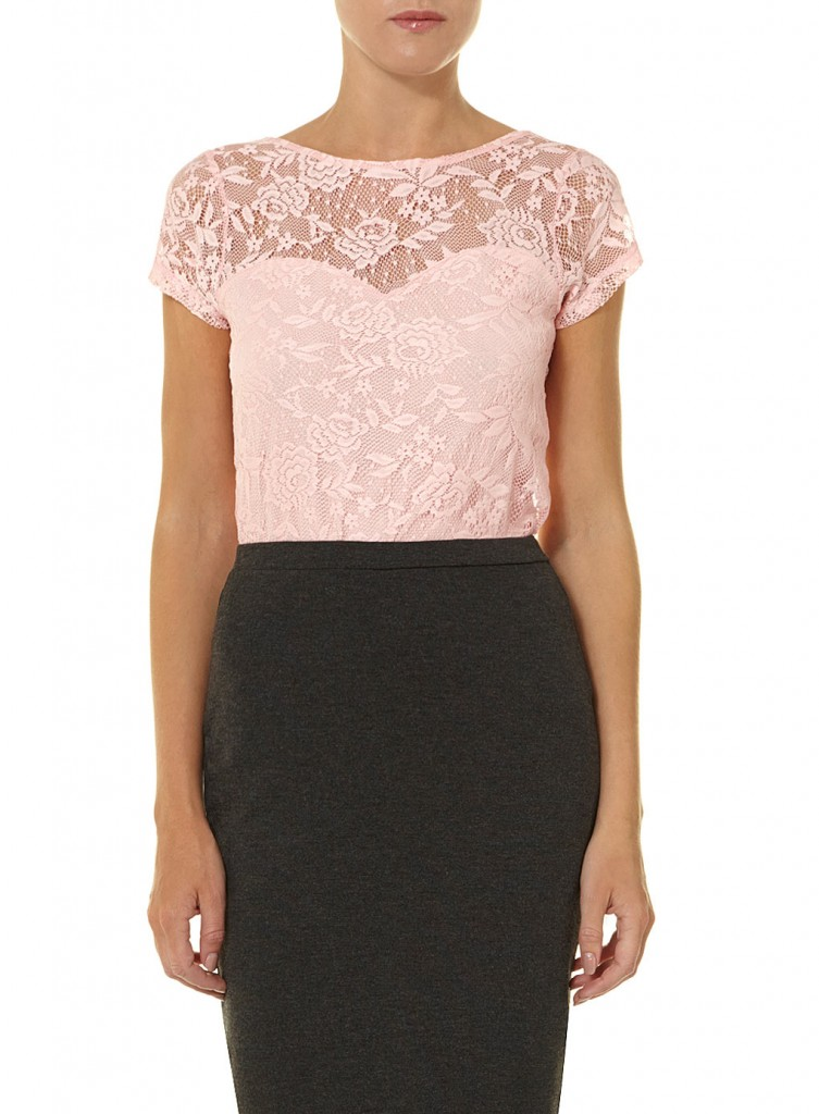 Pink scoop back lace tee     Was £16.00     Now £8.00 click to visit Dorothy Perkins