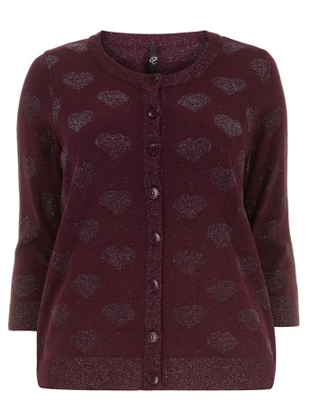 Evans Plum Metallic Yarn Heart Cardigan Was £35.00 Now £20.00 click to visit Evans