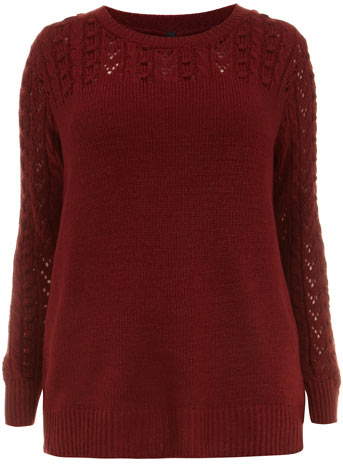 Evans Red Bobble Cable Knit Jumper Was £37.00 Now £25.00 click to visit Evans