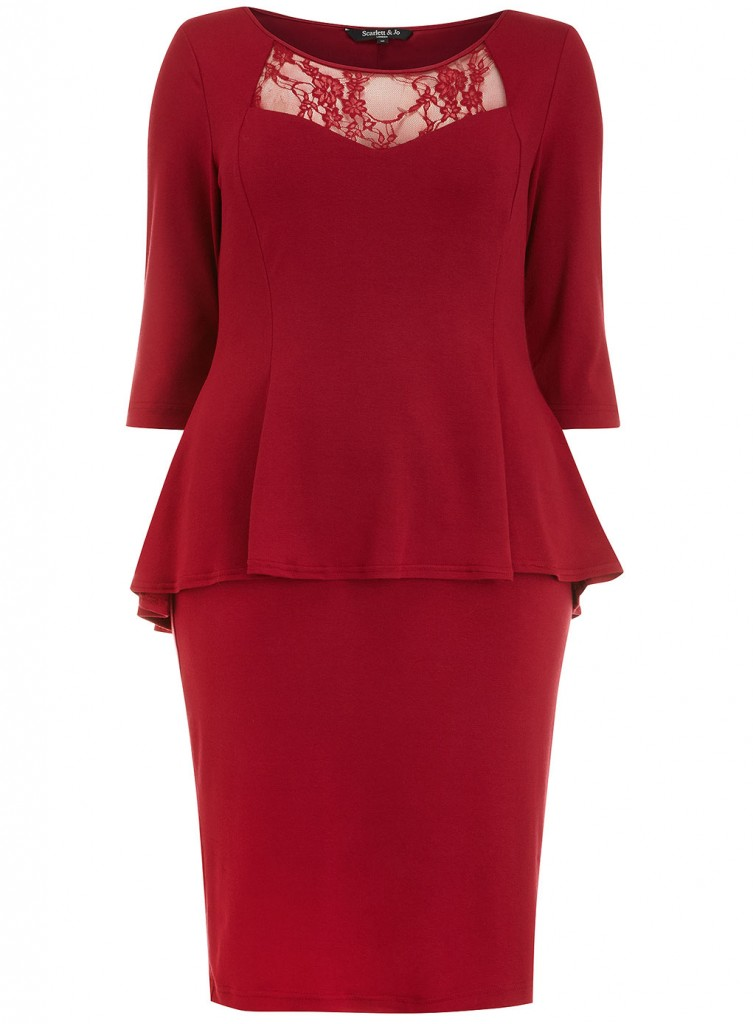 Scarlett & Jo Red 2-In-1 Peplum Dress     Price: £45.00 click to visit Evans