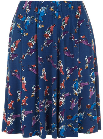 Clements Ribeiro Swan Navy Glove Print Panel Skirt Was £45.00 Now £20.00 click to visit Evans