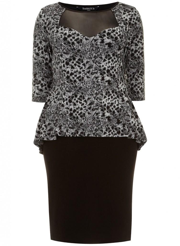 Scarlett & Jo Monochrome Animal Print 2-in-1 Peplum Dress     Price: £45.00 click to visit Evans