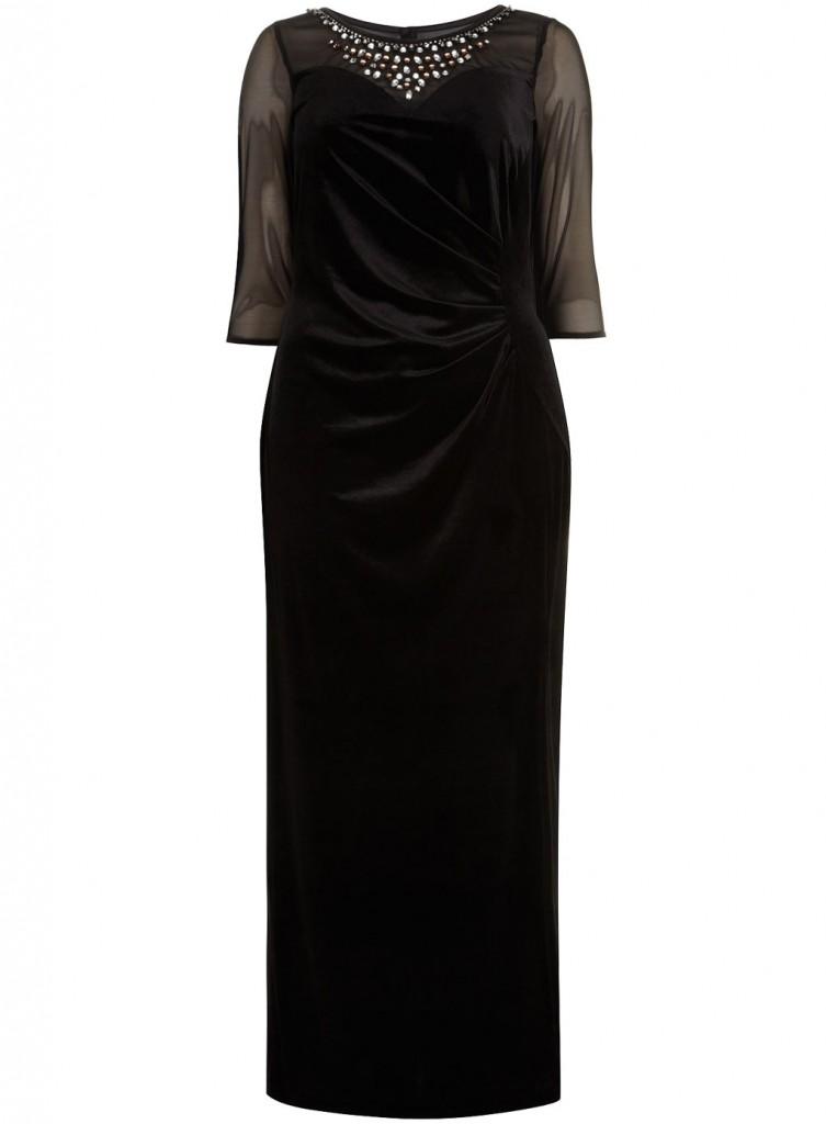 Scarlett & Jo Black Side Split Velvet Maxi Dress     Price: £65.00 click to visit Evans