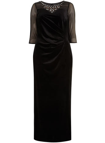 Scarlett & Jo Black Side Split Velvet Maxi Dress Was £65.00 Now £35.00 click to visit Evans
