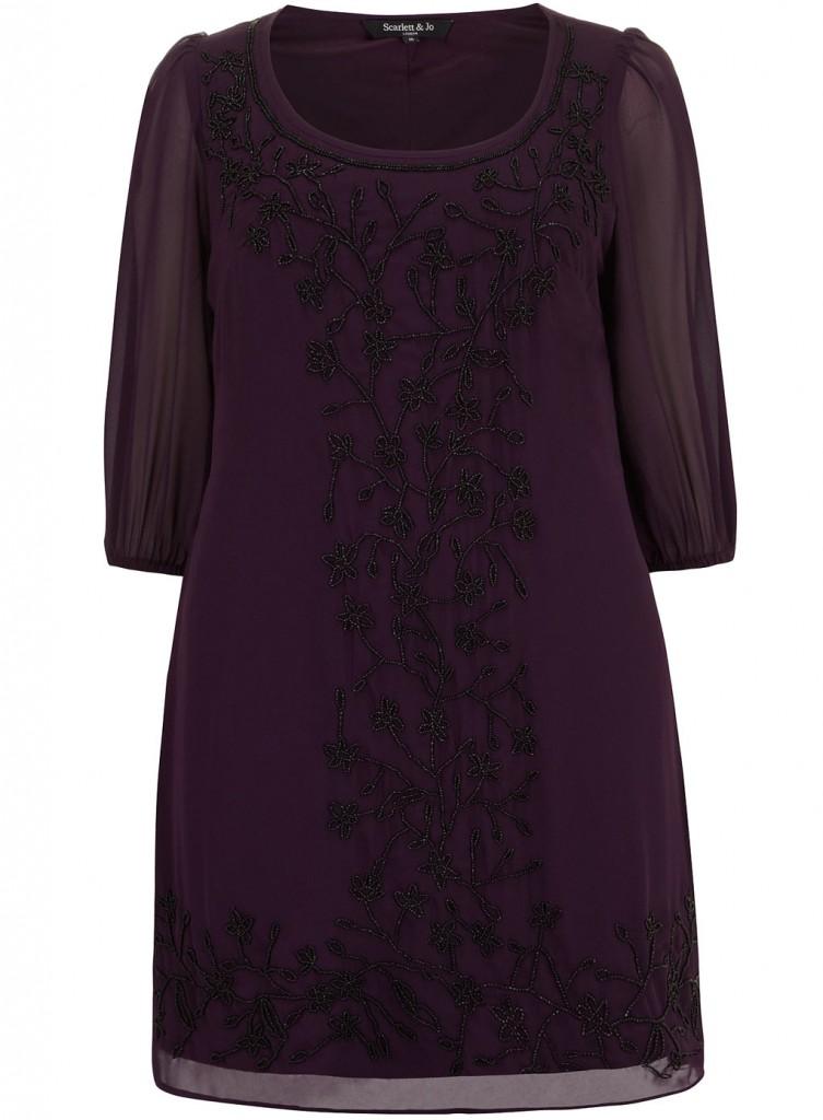 Scarlett & Jo Purple Embellished Shift Dress     Price: £60.00 click to visit Evans