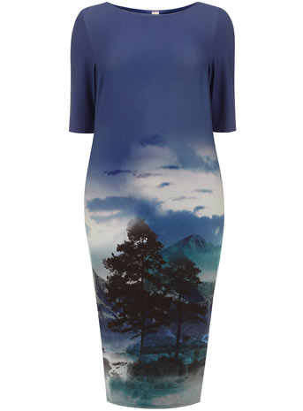 Collection Teal Landscape Print Dress     Price: £50.00 click to visit Evans