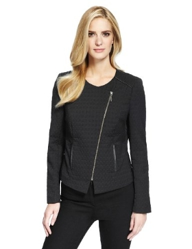 M&S Collection Jacquard Biker Jacket Product Code: T590699J £59.00 click to visit Marks and Spencer