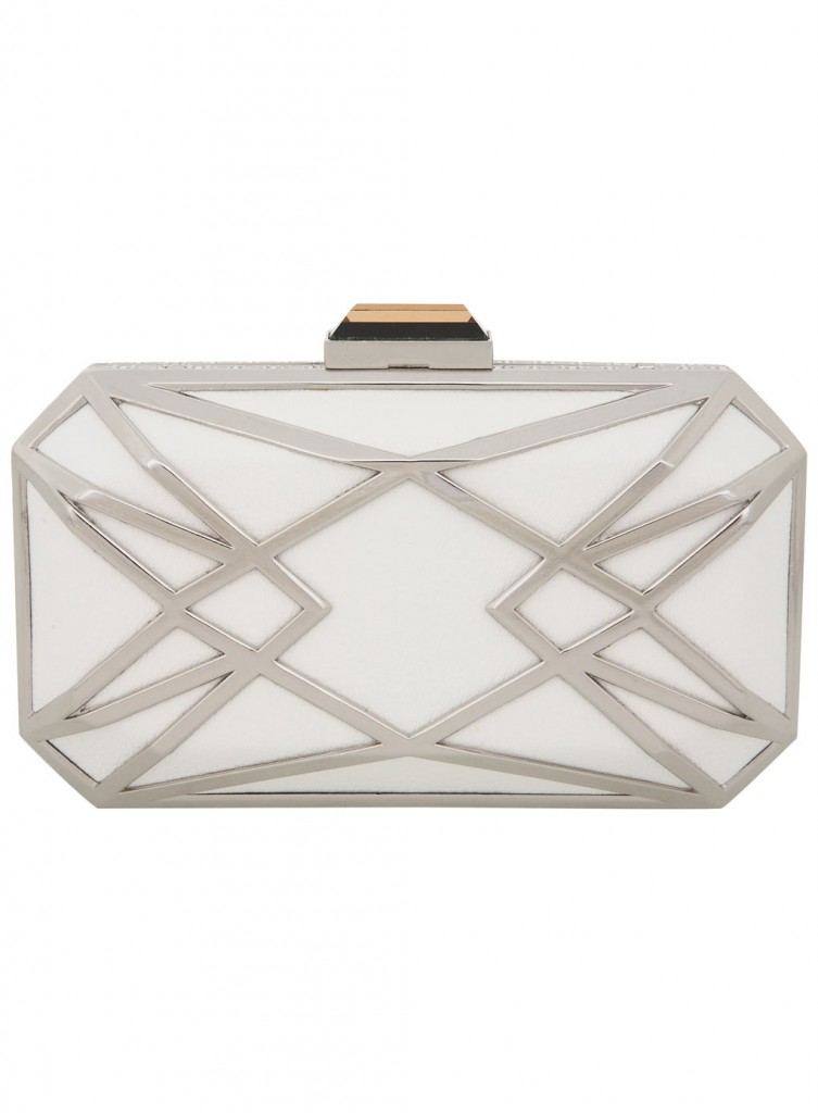 White Geo Metal Clutch     Price: £35.00 click to visit Miss Selfridge