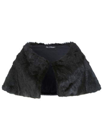 Black Faux Fur Cape     Price: £35.00 click to visit Miss Selfridge