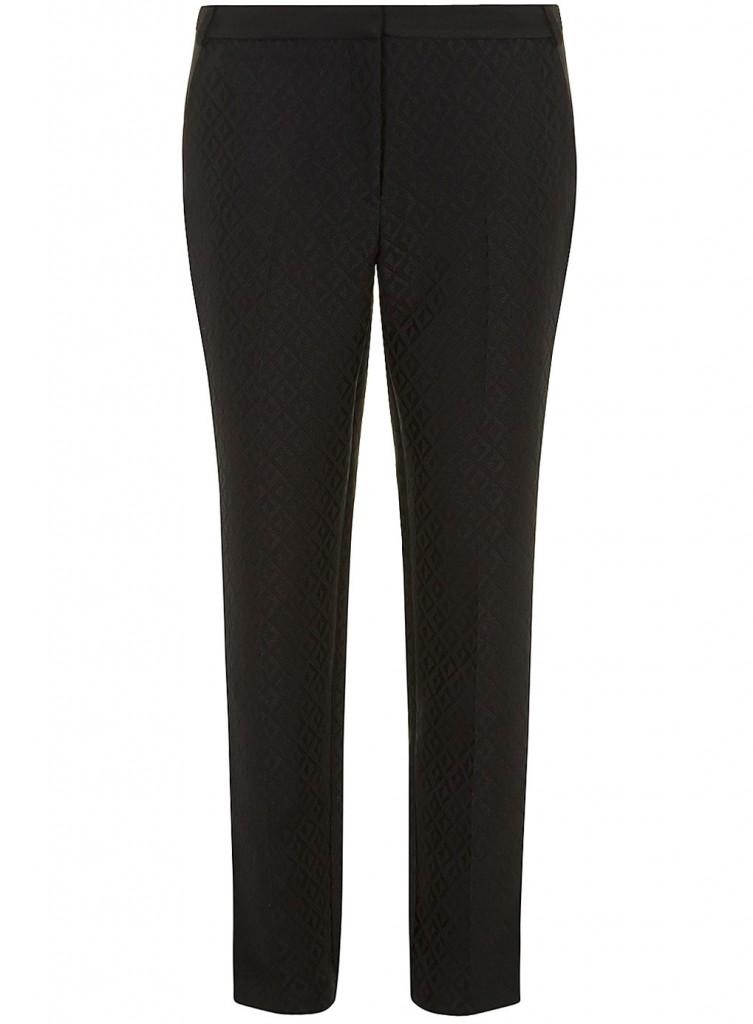 Black straight leg jacquard trouser     Price: £28.00 click to visit Dorothy Perkins