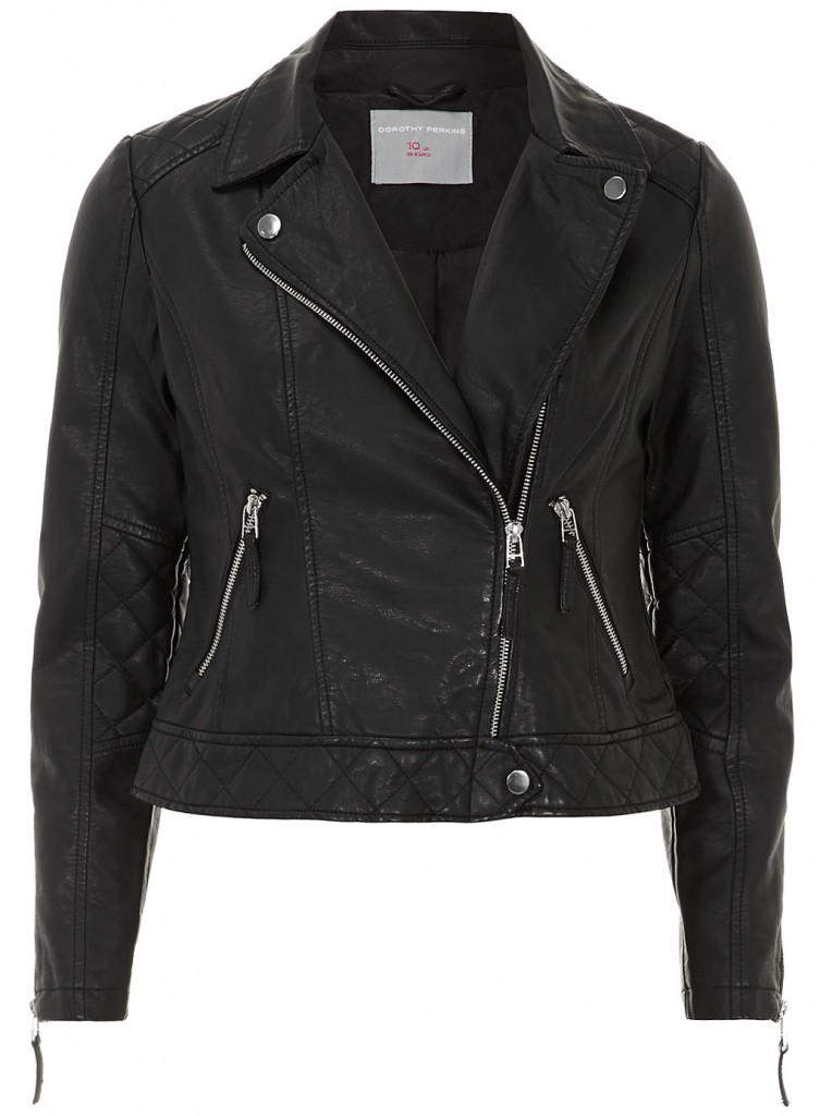 Petite black leather look quilted biker     Price: £49.00 click to visit Dorothy Perkins
