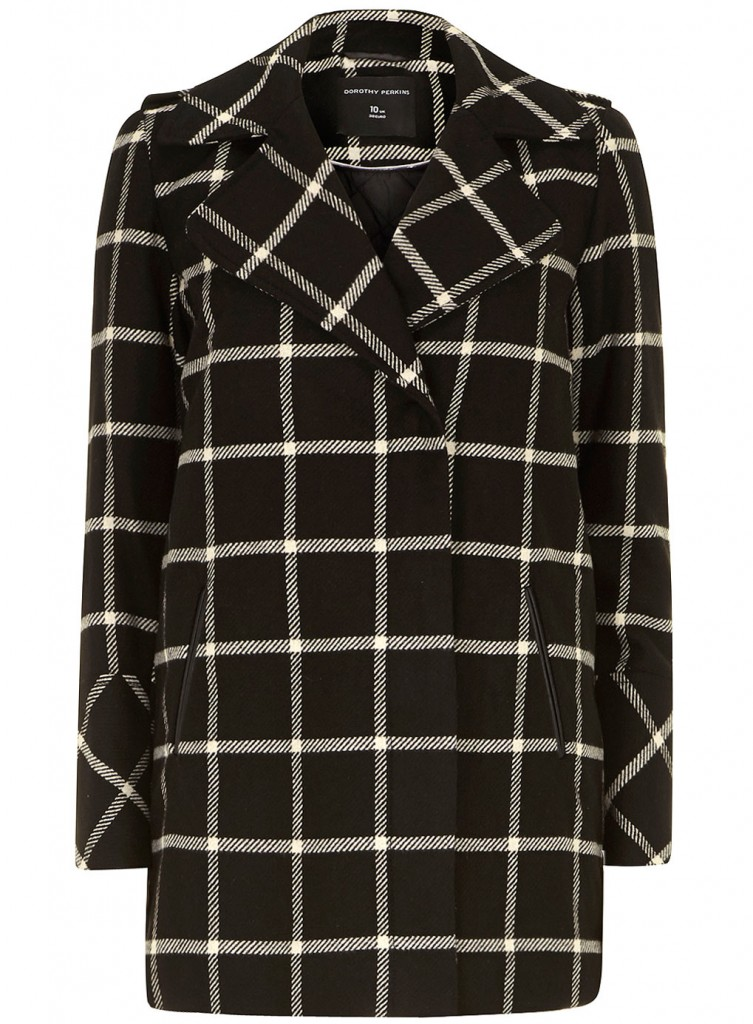 Black and white check biker     Was £69.00     Now £34.50 click to visit Dorothy Perkins