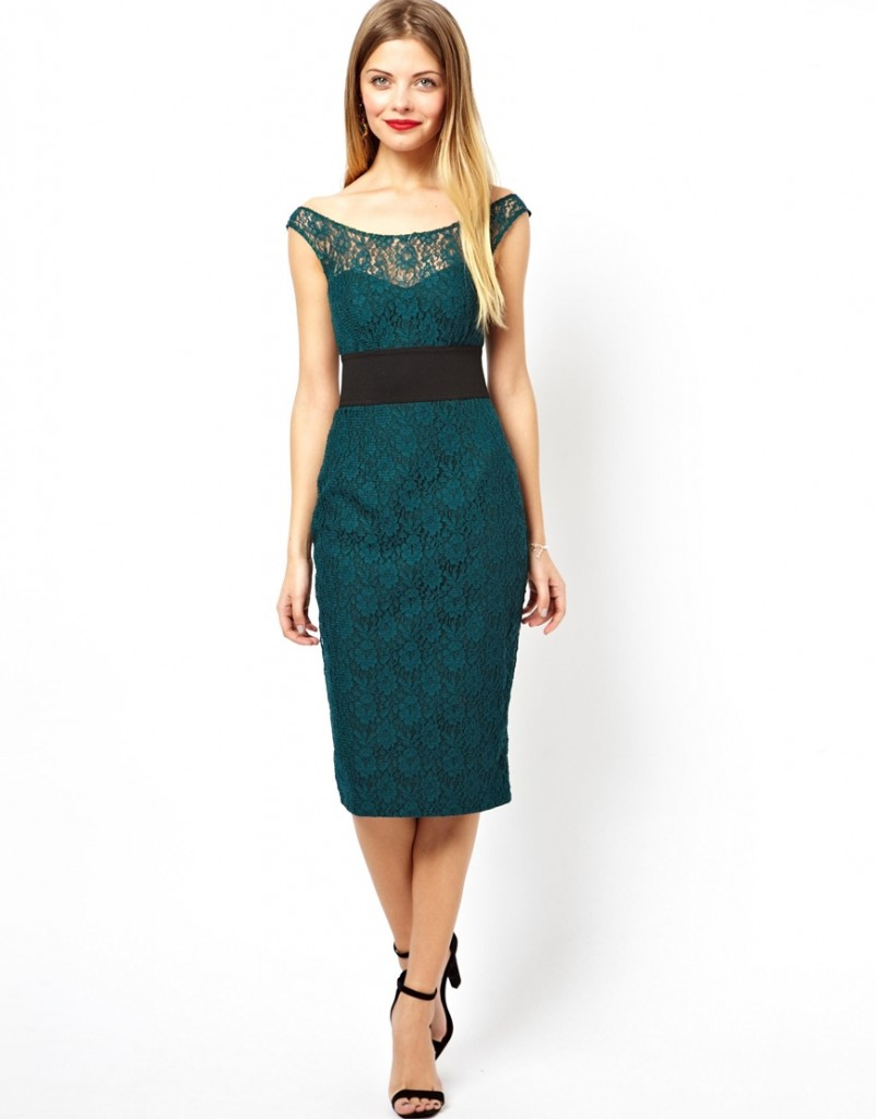 ASOS Lace Bardot Midi Pencil Dress £60.00 NOW £36.00 Click to visit ASOS
