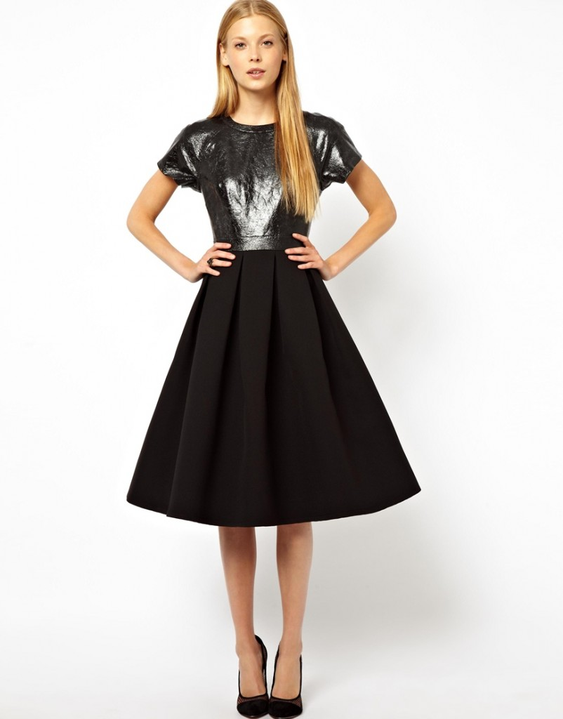 ASOS Premium Midi Dress With Cracked Leather Top £150.00 NOW £105.00 Click to visit Asos