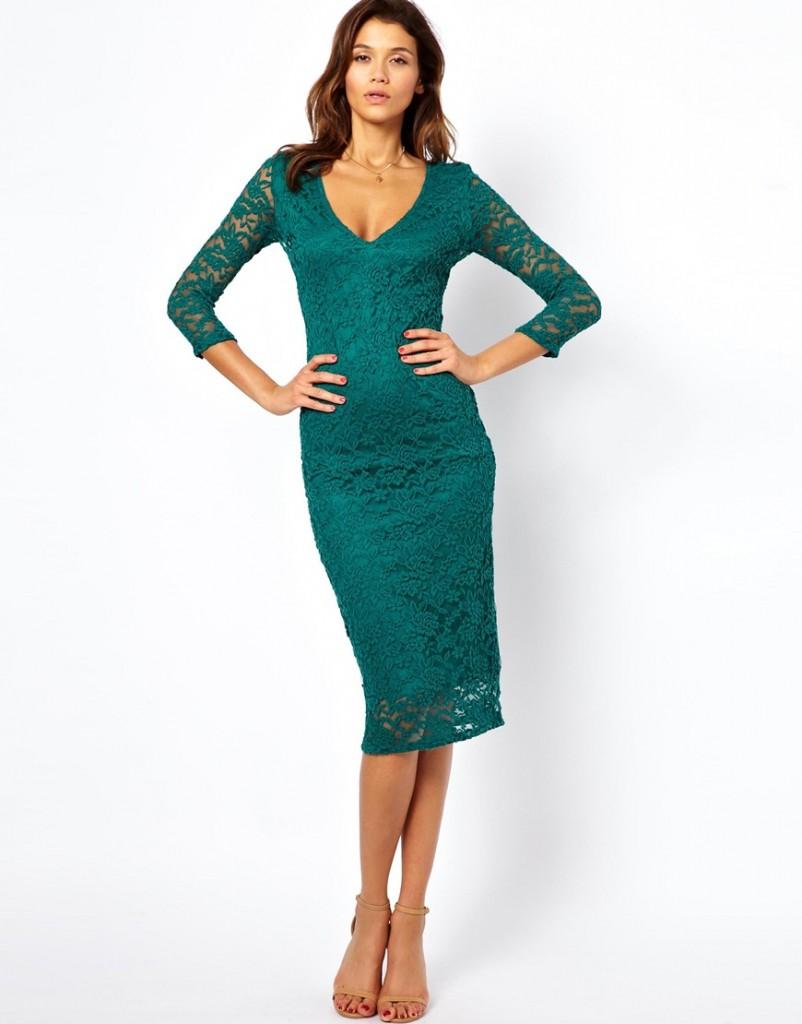 ASOS Midi V Neck Lace Bodycon Dress £30.00 NOW £18.00 Click to visit ASOS