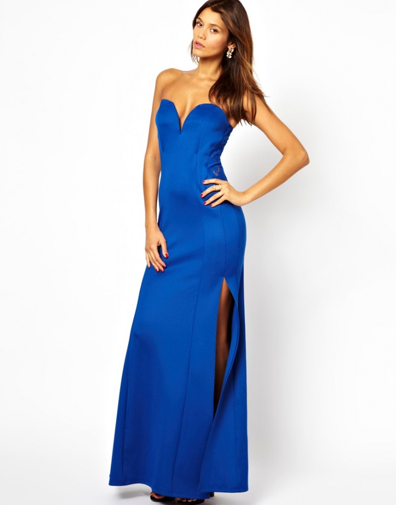 TFNC Maxi Dress With Fishtail And Lace Insert £55.00 NOW £38.50 Click to visit ASOS