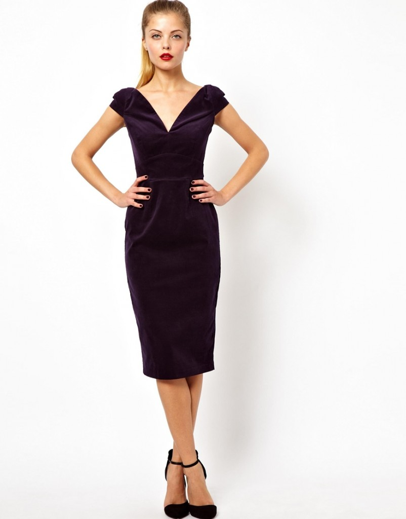 ASOS Off Shoulder Velvet Pencil Midi Dress £55.00 NOW £38.50 Click to visit ASOS