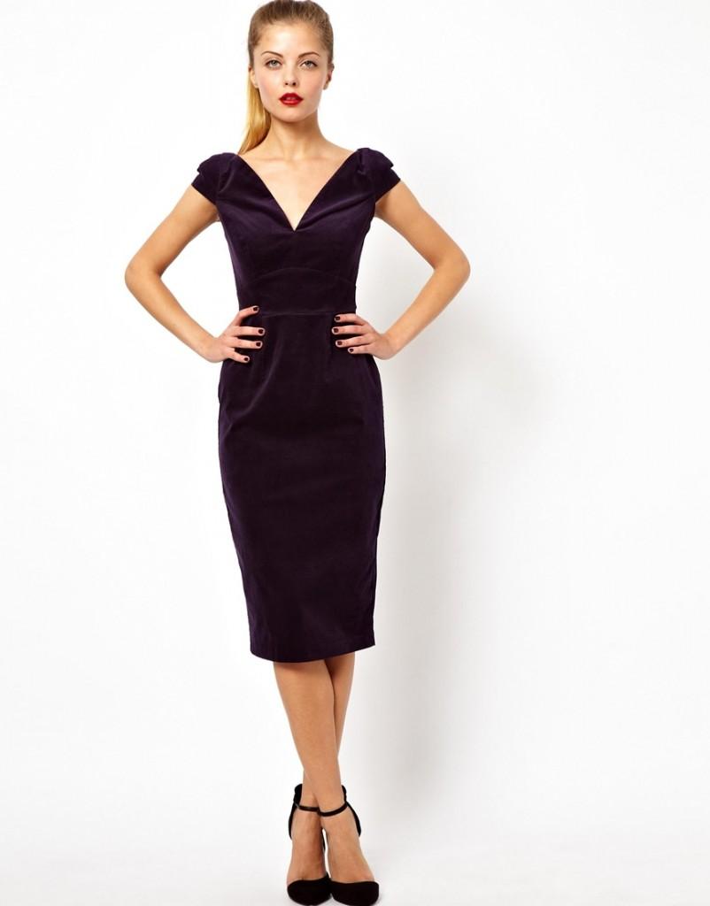 ASOS Off Shoulder Velvet Pencil Midi Dress £55.00 NOW £38.50 Click to visit ASOS