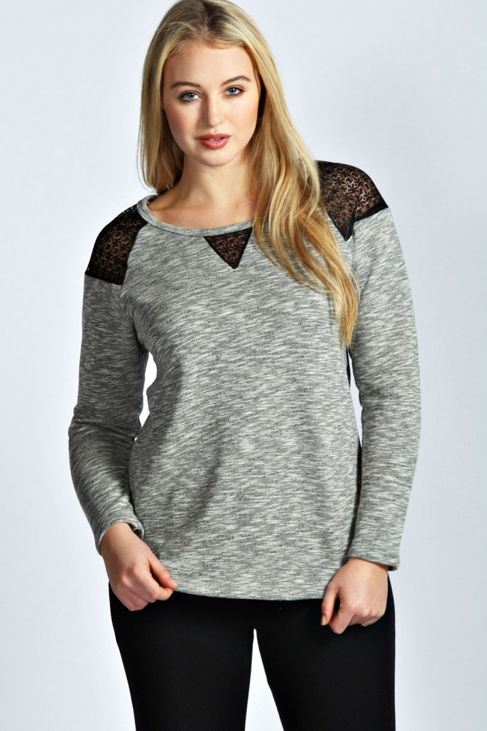 Grace Sweat With Lace Inserts Product code: pzz99979 £18.00 click to visit Boohoo