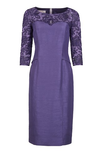 Lace Sleeve Shimmer Shantung Dress Now £79, click to visit Jacques Vert
