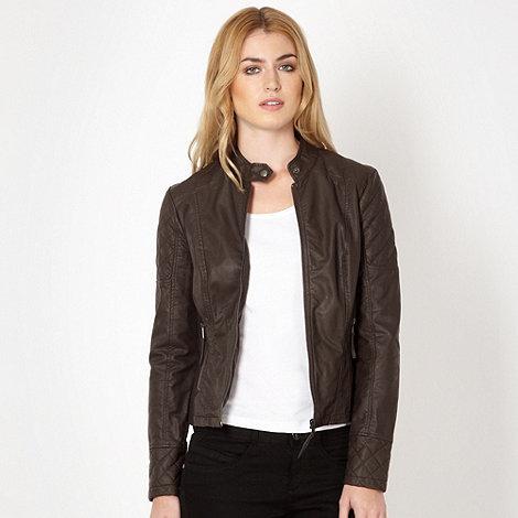 Chocolate quilted biker jacket £27.50 click to visit Debenhams
