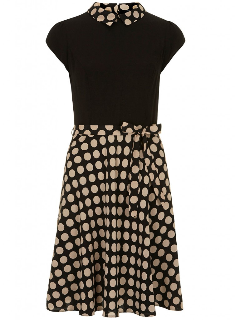 Camel and black spot dress     Price: £35.00 click to visit Dorothy Perkins