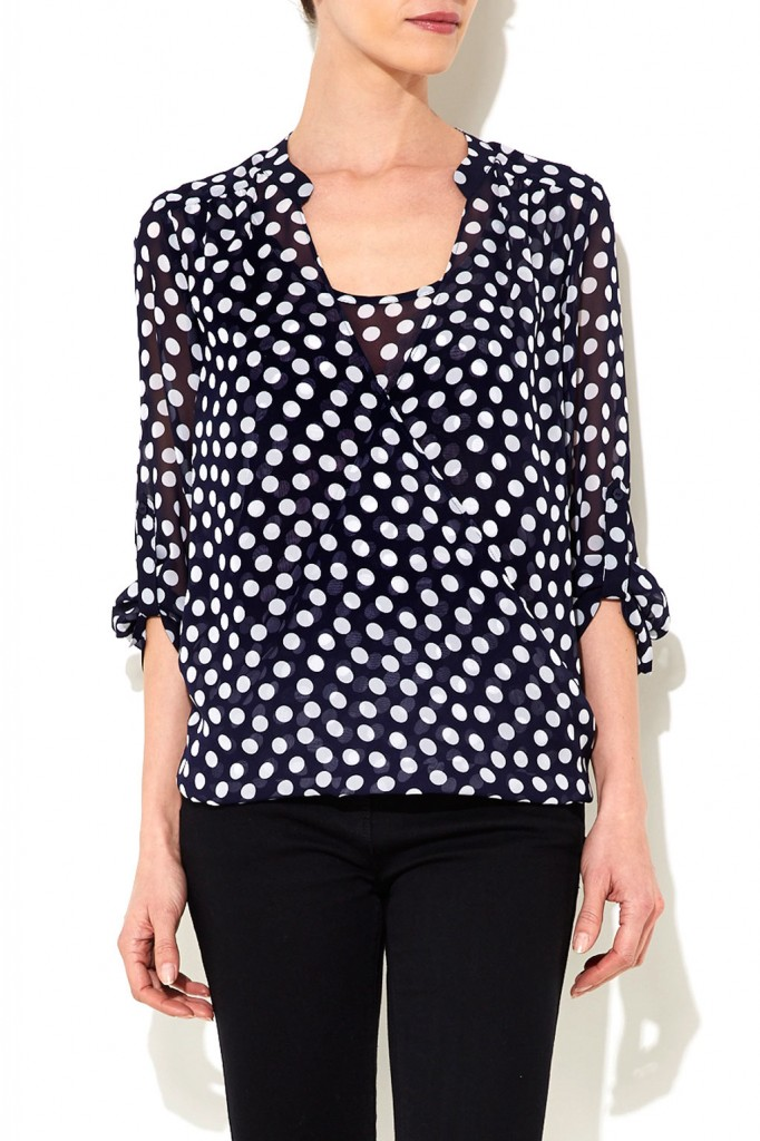 Navy Blue Petite Spot Wrap Blouse Was £33.00 Now £26.40 click to visit Wallis