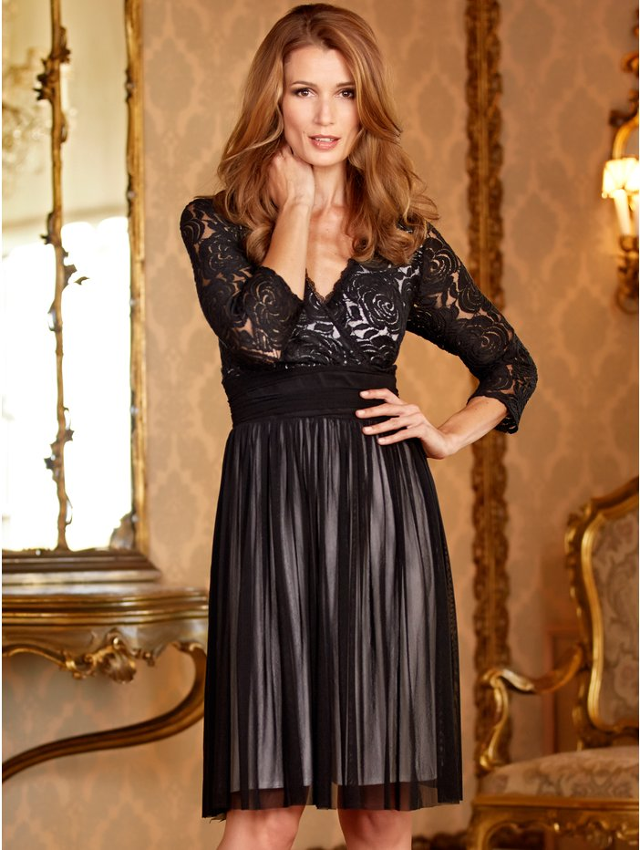 Black Lace and Mesh Prom Dress Was £55.00 now £20.00 click to visit M&Co