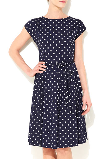 Navy Blue Polka Dot Dress Was £38.00 Now £36.10 click to visit Wallis
