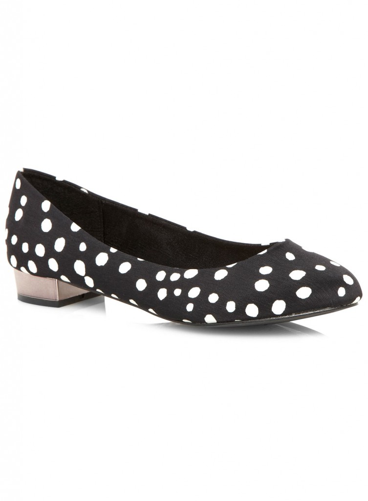 Evans Black And White Spot Print Low Heel     Price: £35.00 click to visit Evans