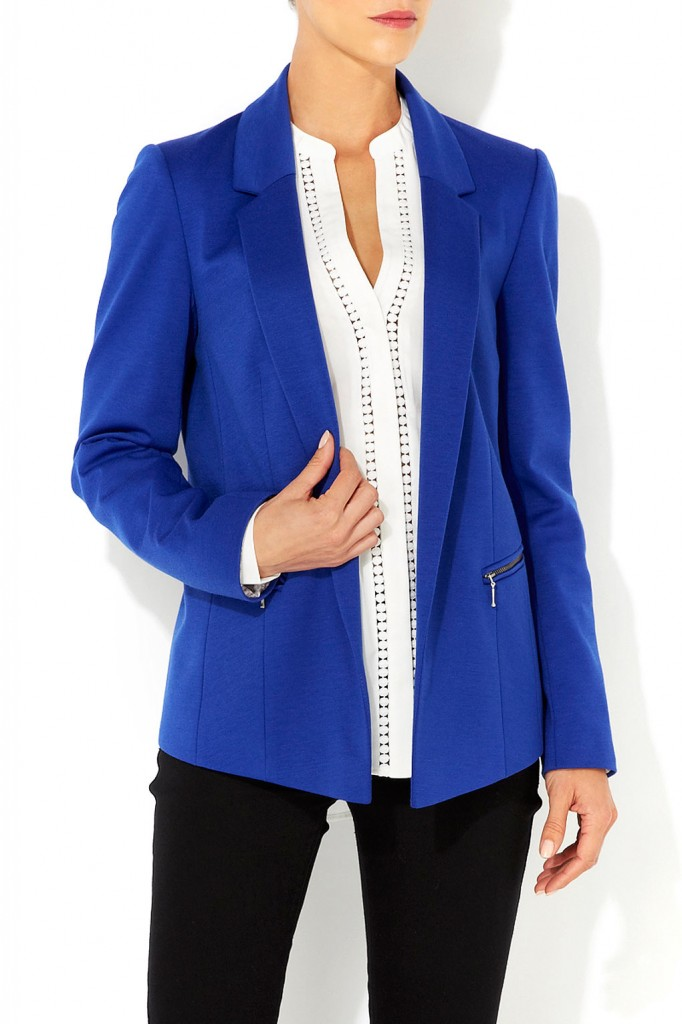 Blue Zip Detail Blazer Was £40.00 Now £30.00 click to visit Wallis