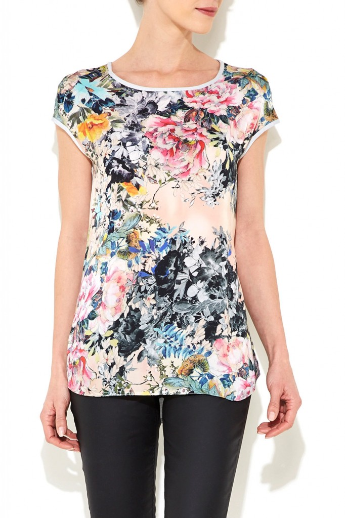 Stone Floral Top Was £28.00 Now £26.60 click to visit Wallis