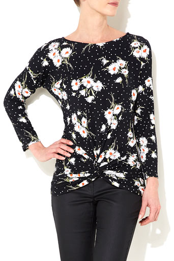 Navy Blue Daisy Print Top Was £28.00 Now £26.60 click to visit Wallis