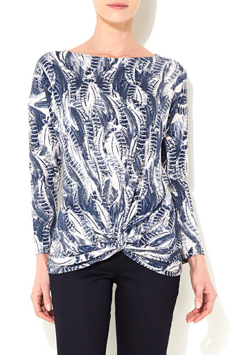 Navy Blue Feather Print Top Was £28.00 Now £26.60 click to visit Wallis