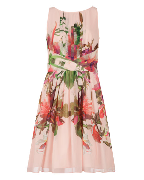 CARLII Symmetrical orchid floral dress     £189.00 click to visit Ted Baker