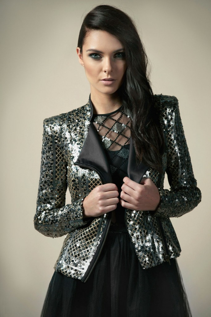 Boutique Jasmine Patchwork Sequin High Neck Biker Jacket £35 click to visit Boohoo Boutique