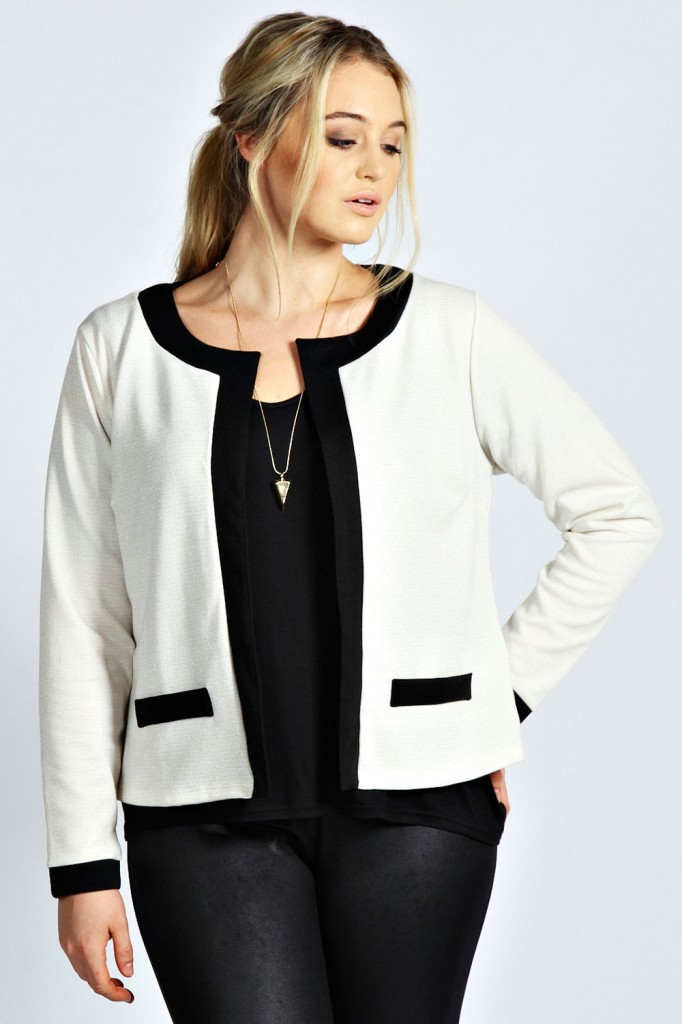 Charlotte Metallic Contrast Trim Jersey Jacket Product code: pzz99981 £18.00 click to visit Boohoo