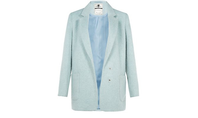 Mint Green Double Pocket Mohair Textured Coat  £54.99 click to visit New Look