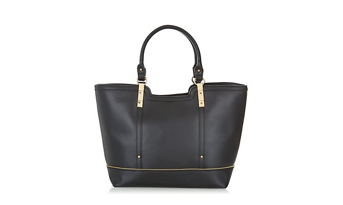 Tote Bag - Black Leather-Look Zip Trim Tote Bag  £24.99 click to visit New Look