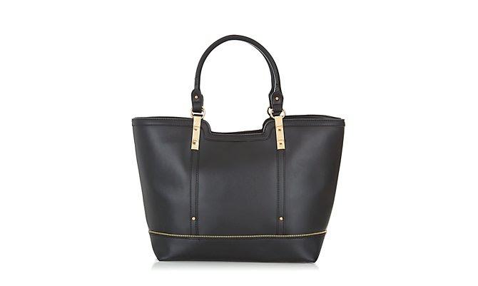 Tote Bag - Black Leather-Look Zip Trim Tote Bag  £24.99 click to visit New Look